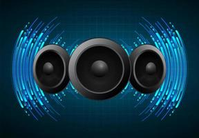 ondes sonores oscillant dans une lumière bleu foncé vecteur