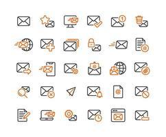 jeu d'icônes de contour e-mail et courrier vecteur