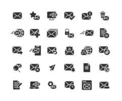 e-mail et courrier électronique ensemble d'icônes solides vecteur