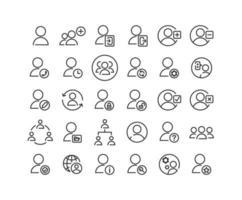 jeu d'icônes de contour des utilisateurs vecteur