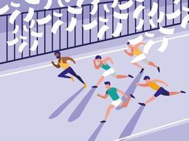 caractère avatar course athlétisme masculin vecteur