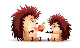 un hérisson donnant une pomme à un autre hérisson vecteur