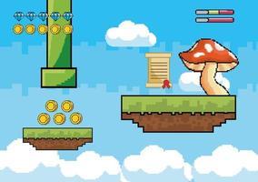 scène aérienne de jeu vidéo avec gros champignon vecteur