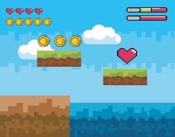 scène de jeu vidéo avec pièces de monnaie et coeur vecteur