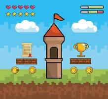 scène de jeu vidéo avec des icônes de tour et de pixel vecteur