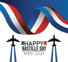 bannière de célébration nationale de la fête de la bastille française vecteur
