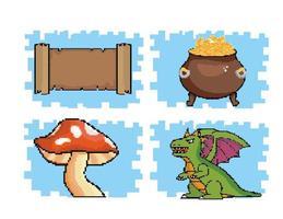 jeu d'icônes graphiques pixel de jeu vidéo vecteur