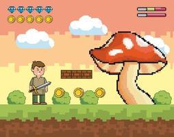 scène de jeu vidéo de garçon avec gros champignon vecteur