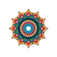 mandala rond turquoise et orange vecteur