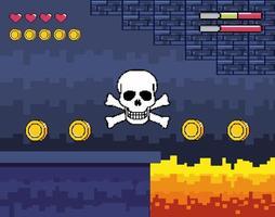 scène de donjon de jeu vidéo avec grand crâne vecteur