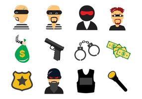 Vecteur d'icônes de droit criminel contre le vol et le voleur gratuit