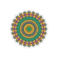 conception de mandala turquoise et violet vecteur