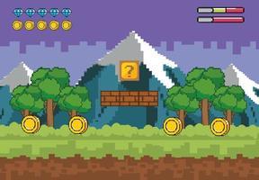 fond de scène de jeu vidéo montagnes enneigées vecteur