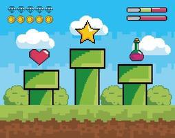 scène extérieure de jeu vidéo avec des tuyaux et des icônes vecteur