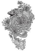 tatouage art dragon et fleur