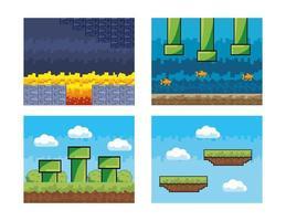 ensemble d'arrière-plans graphiques de jeux vidéo vecteur