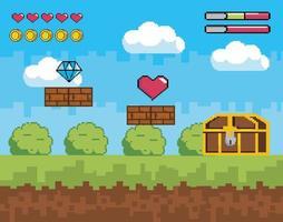 scène de jeu vidéo avec cœur et poitrine de la vie vecteur