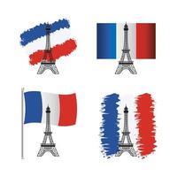 drapeau france et jeu d'icônes de la tour eiffel vecteur