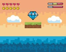 scène de jeu vidéo avec de l & # 39; eau vecteur