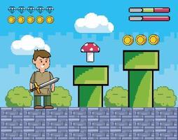scène de jeu vidéo avec prince tenant une épée vecteur