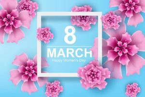 art et artisanat en papier du 8 mars avec journée de la femme fleur vecteur