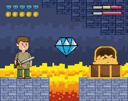 scène de jeu vidéo avec prince et coffre en bois vecteur
