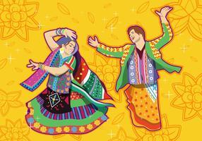 Couple exécutant la danse Garba vecteur