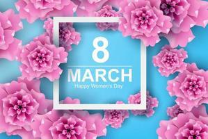 art et artisanat en papier du 8 mars avec fleurs journée de la femme vecteur