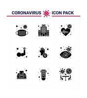 jeu d'icônes de pictogramme silhouette coronavirus vecteur
