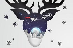 papier art noël avec fond de concept de renne