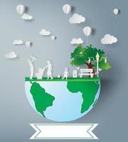 art de papier de la famille et du parc sur l'idée de l'écologie verte