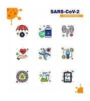 jeu d'icônes de pictogramme de couleur coronavirus vecteur