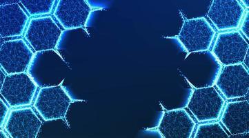 forme de structure de molécule sur fond bleu