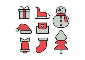 Jeu d'icônes de Joyeux Noël vecteur