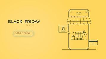 magasin en ligne de vente vendredi noir avec smartphone de technologie numérique