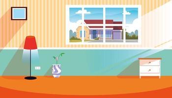 maison à l & # 39; intérieur de la scène avec fenêtre et décoration vecteur