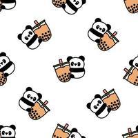 Panda mignon tenant le modèle sans couture de dessin animé de thé à bulles vecteur