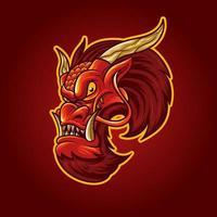 tête de dragon rouge au visage arrogant