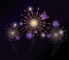 explosions de feux d'artifice à la conception de nuit