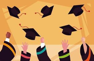 casquettes de graduation dans la conception de la cérémonie vecteur