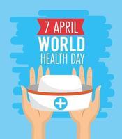 affiche de la journée mondiale de la santé avec chapeau d'infirmière