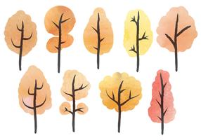 Vecteur d'arbres aquarelle gratuit