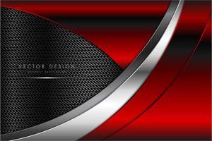 fond métallique rouge avec texture en fibre de carbone vecteur