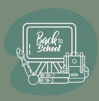 tableau noir et fournitures scolaires