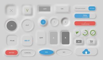 collection de boutons neumorphes vecteur