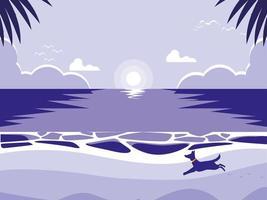 plage tropicale avec mascotte de chien vecteur