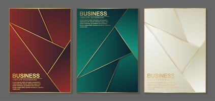 couvertures minimales abstraites avec des lignes dorées vecteur