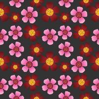 modèle sans couture de textures de fleurs rouges et roses.
