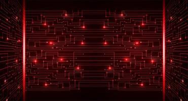 fond de concept de technologie future cyber circuit rouge vecteur