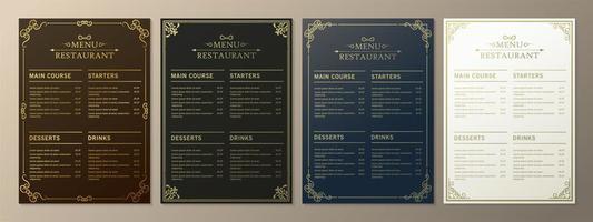 menu restaurant avec style ornemental élégant vecteur